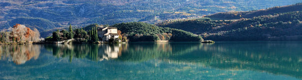 Free Toblino Castle And Lake Panorama Stock Image - 84033001