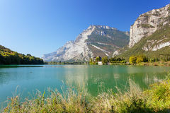 Toblino lake and castle Stock Photos