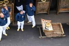 Toboggan Run in basket car Royalty Free Stock Image