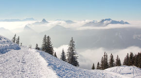Toboggan run in wintry german alps Royalty Free Stock Photography