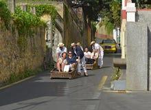 Toboggans at Monte, Madeira, Portugal Royalty Free Stock Images