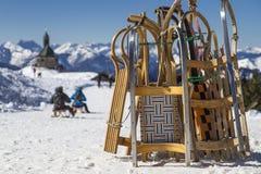 Toboggans op een bergbovenkant Royalty-vrije Stock Afbeeldingen