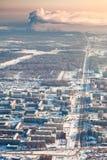 Tobolsk,秋明州地区,俄罗斯在冬天,顶视图 免版税库存照片