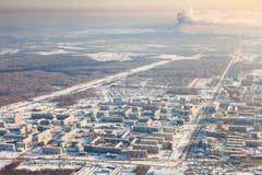 Tobolsk,秋明州地区,俄罗斯在冬天,顶视图 免版税库存图片