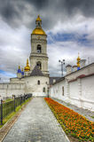 Tobolsk Kremlin and belfry Sophia-Assumption Cathedral panorama. Menacing sky hdr Russia Siberia Asia Stock Images