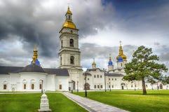 Tobolsk Kremlin courtyard Sophia-Assumption Cathedral panorama m. Enacing sky hdr Russia Siberia Asia Stock Photo