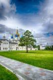 Tobolsk Kremlin courtyard Sophia-Assumption Cathedral panorama m. Enacing sky hdr Russia Siberia Asia Stock Photography