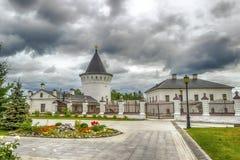 Tobolsk Kremlin courtyard tower panorama menacing sky Royalty Free Stock Photography