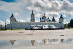 Tobolsk Kremlin and fountain after rain. Russia. Tobolsk, Russia - July 15, 2016: Kremlin complex. Fountain, Guests Yard and St Sophia-Assumption Cathedral after Stock Photo