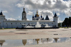 Tobolsk Kremlin and fountain after rain. Russia Stock Images