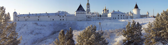 Tobolsk Kremlin. Panorama of eastern part. Eastern part of Tobolsk Kremlin. South-eastern on-the corner tower, mews, eastern tower, monastic building, north Stock Images