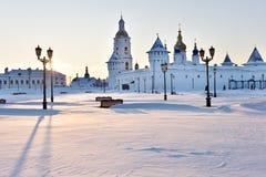 Tobolsk Kremlin in a winter day. Tobolsk, Russia - January 7, 2015: Gostiny Dvor and St. Sophia-Assumption Cathedral in the Tobolsk Kremlin. Built in XVII-XVIII Stock Image