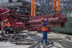 Tobolsk, Rússia - 16 de julho 2017: o ` do ` SIBUR da empresa Construção em grande escala do complexo químico do gás Imagens de Stock Royalty Free