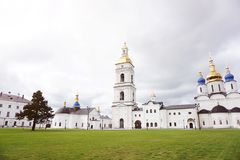 Tobolsk, Russia, 11.09.2016. Christian Church against a blue sky with clouds. The concept of religion and culture royalty free stock image