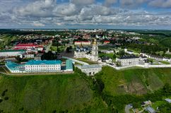 Aerial view onto Tobolsk Kremlin. Russia. Tobolsk, Russia - July 15, 2016: Aerial view onto Tobolsk Kremlin with St. Sophia-Assumption Cathedral and belltower in Royalty Free Stock Photography
