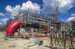 Tobolsk, Russia - July 16. 2017: the company `SIBUR`.Large-scale construction of the gas chemical complex. Royalty Free Stock Photography