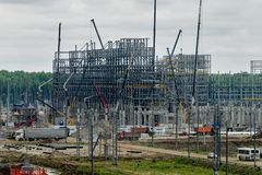 Construction of petrochemical plant. Tobolsk. Tobolsk, Russia - July 15. 2016: Sibur company. Construction of plant on processing of hydrocarbonic raw materials stock photo