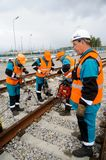 Railway workers repairing way Royalty Free Stock Images