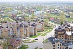 Tobolsk, Russia - May 27, 2014: Birds eye view of Tobolsk city Royalty Free Stock Photography