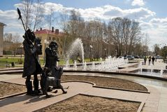 Square of Robinson Crusoe. Tobolsk. Russia. Tobolsk, Russia - May 2, 2010: Fountain in Square of Robinson Crusoe with Robinson Crusoe and Friday sculpture Stock Photo