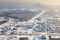 Tobolsk, Tyumen region, Russia in winter, top view Stock Photo