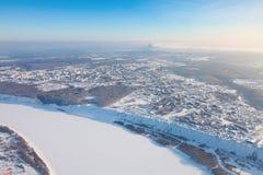 Tobolsk, Tyumen region, Russia in winter, top view Royalty Free Stock Photo