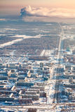 Tobolsk, Tyumen region, Russia in winter, top view Royalty Free Stock Photos
