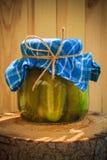 Tocón de madera conservado en vinagre tarro de los pepinos Imágenes de archivo libres de regalías