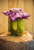 Tocón de madera conservado en vinagre tarro de los pepinos Imagen de archivo