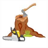 Tocón y herramientas Imagen de archivo libre de regalías