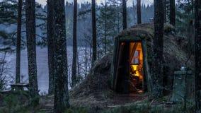 A toca acolhedor gosta do abrigo na Suécia Foto de Stock