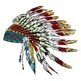 Tocado indio del nativo americano con las plumas en un estilo del bosquejo Para el día de la acción de gracias Ilustración del ve imagen de archivo