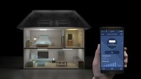 Tocando na aplicação móvel de IoT, controle de poupança de energia da eficiência do sistema do condicionador de ar, aparelhos ele ilustração do vetor