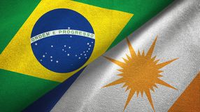 Tocantins state and Brazil flags textile cloth, fabric texture. Tocantins state and Brazil folded flags together stock illustration