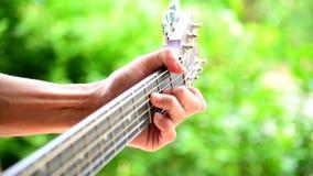 Tocar la guitarra ac?stica en el parque almacen de metraje de vídeo