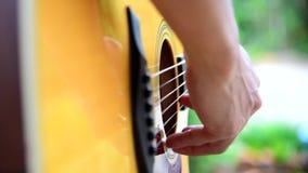 Tocar la guitarra ac?stica en el parque almacen de video
