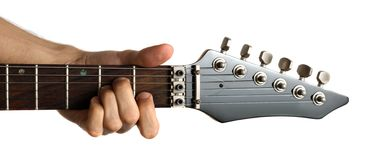 Tocar una guitarra eléctrica Foto de archivo
