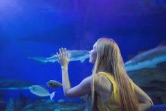 Tocchi della giovane donna un pesce di stingray in un tunnel di oceanarium fotografia stock libera da diritti