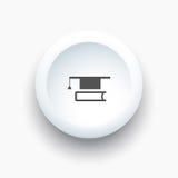 Tocco con l'icona del libro su un bottone bianco 3D Immagini Stock