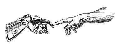 Tocco della mano Android ed umano Insegna di intelligenza artificiale Manifesto bionico del braccio Tecnologia futura Annata inci illustrazione vettoriale