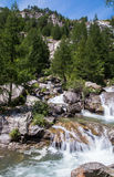 Toce Falls in Northern Italy. Streaming water at the bottom of the Toce waterfalls in Italy Stock Image