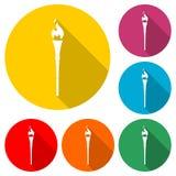 Tocha com ícone da chama ou logotipo, grupo de cor com sombra longa ilustração do vetor