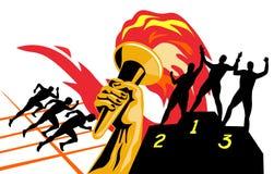 Tocha olímpica com corredores ilustração stock