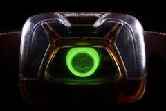 Tocha principal no luminoso, close-up em um fundo preto foto de stock