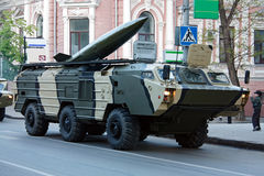 Tochka-U tactical missile system. Rostov-on-Don, Russia, May 6, 2009. Preparation for the Victory Parade Royalty Free Stock Photography