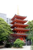 Tocho-ji Temple. Kyushu, Japan - May 1, 2018 : The red 5 story pagoda in the Tocho-ji temple located in Fukuoka, Japan Royalty Free Stock Image