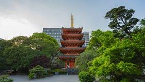 Tochoji Temple with five-storied pagoda time lapse in Hakata, Fukuoka Japan stock video
