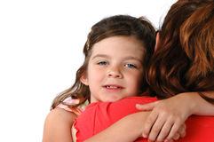 Tochter, die ihre Mutter umarmt stockfotografie