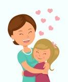 Tochter, die ihre Mutter umarmt Lokalisierte Charaktere in der Umarmung einer Mutter und ihrer Tochter auf einem weißen Hintergru lizenzfreie abbildung