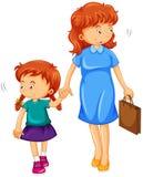 Tochter- und Mutterhändchenhalten vektor abbildung